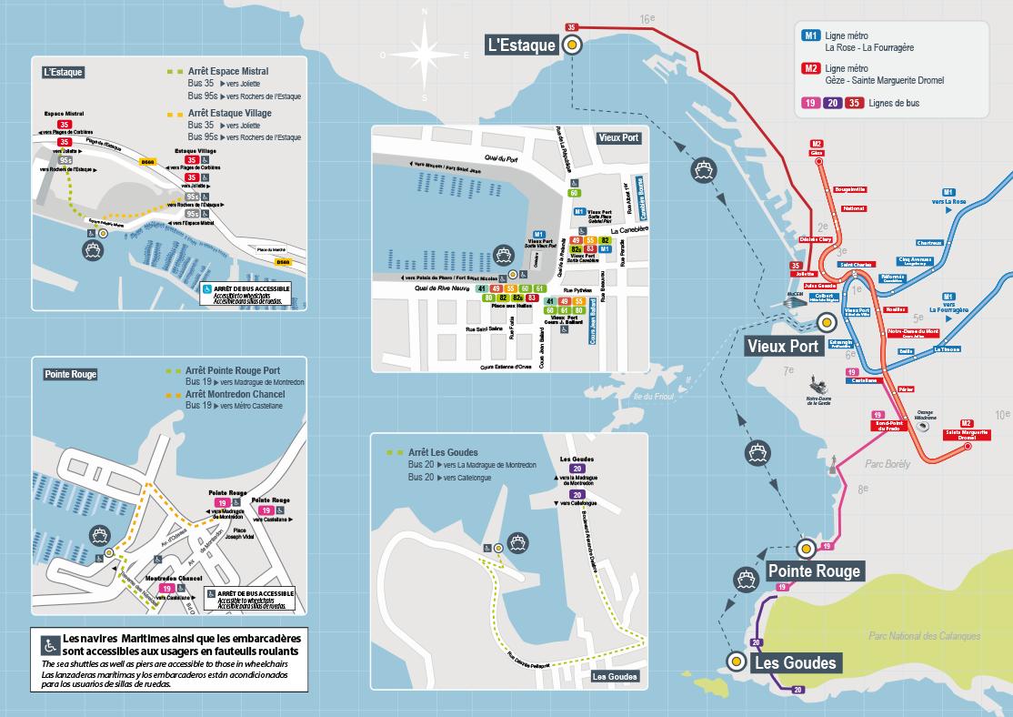 Plan des navettes maritimes (voir description ci-contre)